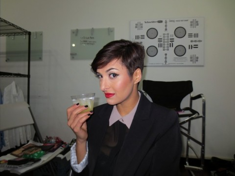 behind the scenes hair and makeup on Rana Mansour